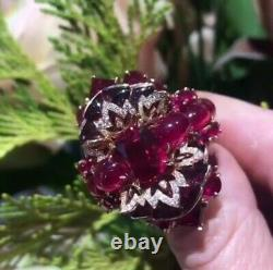 Very Large Unique Vintage Weddind Ring In 925 Real Silver & 50ct Beautiful Ruby