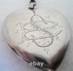 Victorian Large W&h C Sterling Silver Heart Mourning Locket Pendant 1.5 Pictures