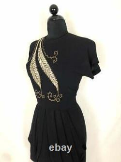 Vintage 1940s Silver Sequin Embellished Feather on Jet Black Rayon Gown L