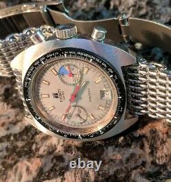 Vintage 1970s Large TISSOT SEASTAR NAVIGATOR Chronograph Valjoux 7734 W Bracelet