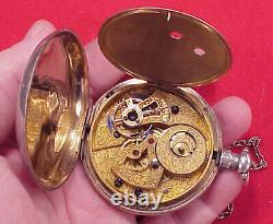 Vintage 58mm Large Bat Wing Crab Claw Chinese Duplex Silver Pocket Watch