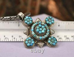 Vintage 925 sterling silver turquoise large pendant chain necklace