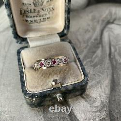 Vintage 9ct Gold Ruby Eternity Ring, Silver Heart set with White Spinels UK L