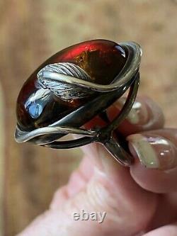 Vintage Amber Art Nouveau Large Cabochon Silver Vine Ring