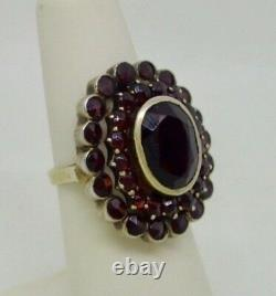 Vintage Antique 14K Gold & Silver 3ctw Bohemian Garnet 3 Layer Large Ring S 4.75