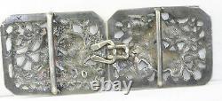 Vintage Antique Large Sterling Silver Angels Belt Buckle