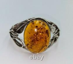 Vintage Art Nouveau Solid Silver A Chunky Large Amber Bangle /bracelet 42.90gm