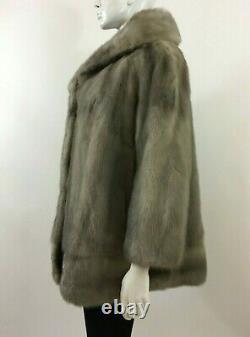 Vintage Beautiful Silver Gray Mink Fur Jacket, Coat New Satin Lining SZ L