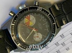 Vintage Big Eye Yachting 1960s Chronograph. Large solid stainless. For Repair