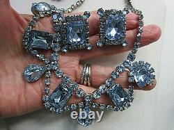Vintage Blue Rhinestone NECKLACE EARRING SET-Large Prong Set Stones-Silver Tone