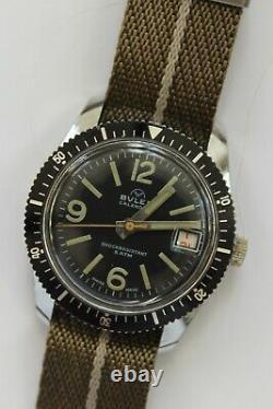 Vintage Buler Dive Watch Large Mens Calendar Skin Diver