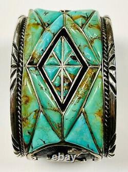 Vintage Celina Yazzie NAVAJO Sterling Silver TURQUOISE Bracelet Large 245 Grams
