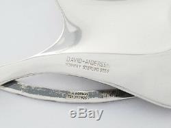 Vintage David Andersen Norway Large Sterling Silver Modernist Pendant Necklace