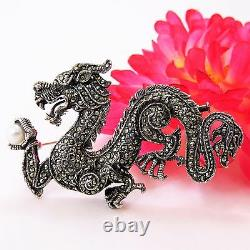 Vintage Dragon Ruby Eye Marcasite Sterling Silver Pin/Brooch, large size w pearl