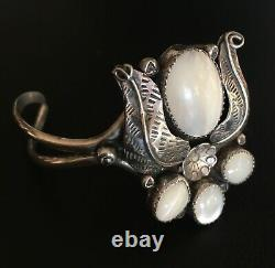Vintage Early 70's Navajo Silver Mother Of Pearl Large Alex Begay Bracelet Cuff