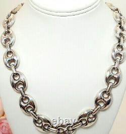 Vintage Fine Jewelry Gucci Mariner LARGE Link Sterling Silver Necklace 24