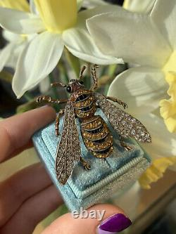 Vintage Gemset Large Bug Bee Brooch in Sterling Silver