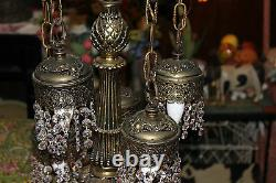 Vintage Gothic Style 6 Light Hanging Crystals Chandelier Table Lamp Ornate Lamp