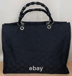 Vintage Gucci Black Monogram GG Canvas Bamboo Handles Large Handbag Bag