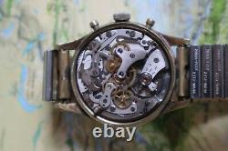Vintage JAQUET DROZ men large size wrist watch Landeron 248 chronograph rare