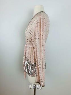 Vintage JUDITH ANN Ballet Slipper Pink Silver Sequin Silk Jacket Belt Beaded S M