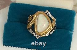 Vintage Jewellery Silver Gold Large Opal Twig Ring Antique Deco Jewelry 10 or U