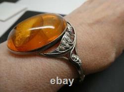 Vintage Large Amber Ornate Leaf Sterling Silver Oval Hinged Bangle Bracelet 7