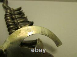 Vintage Large Native Navajo Sterling Silver Squash Blossom Necklace Signed Earl