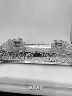 Vintage Large Solid Silver Inkwell / Ink Stand London 1929