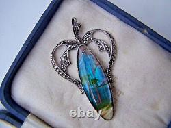 Vintage Large Sterling Silver & Marcasite Butterfly Wing Pendant Tlm Thomas Mott
