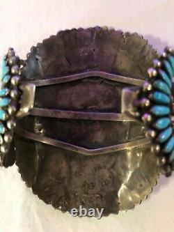 Vintage Large Sterling Silver Navajo Turquoise Bracelet