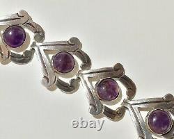 Vintage Mexico Taxco BETO Sterling Silver & Amethyst Large Link Bracelet
