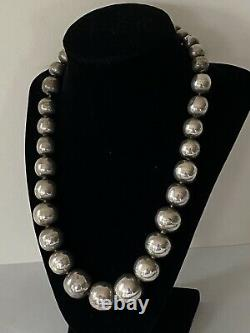 Vintage Mexico sterling silver graduated LARGE (20mm10mm) ball bead necklace