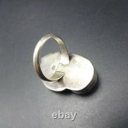 Vintage NAVAJO Sterling Silver TURQUOISE RING size 8.5 Large Applied Leaf