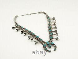 Vintage Native American Silver Large Turquoise Squash Blossom Necklace, 26