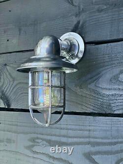 Vintage Nautical Large Aluminium Wall Light Passageway Bulkhead Maritime Outdoor