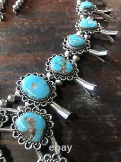 Vintage Navajo Indian Large Heavy Silver & Turquoise Squash Blossom Necklace