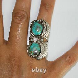 Vintage Navajo Large Sterling Silver Double Turquoise Stone Size 8 Ring 13.1g