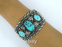 Vintage Navajo Sterling Silver Annie Chapo Large Turquoise Cuff Bracelet
