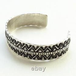 Vintage Navajo T. Jon Sterling Silver Large Cuff Bracelet Tillie Jon Stamp Work