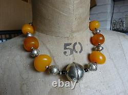 Vintage North African Berber Moroccan Large Amber & Silver Bicone Beads Necklace