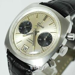 Vintage Renis Chronograph Date Manual Wind Panda Dial Ss Large 37mm Gents Watch