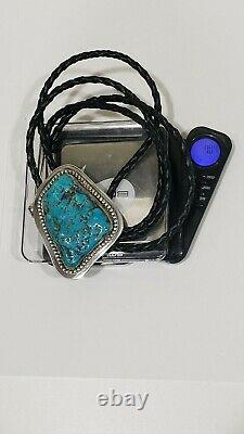 Vintage SAMI Sterling Silver & Large Turquoise Stone Bolo Tie, Signed