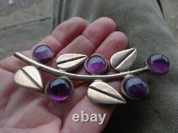 Vintage Signed Hector Aguilar Mexican Silver Art Deco Amethyst Floral Large Pin