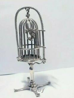 Vintage Sterling Silver 925 Italian Figurine Parrot in a Cage. Large MEDUSA-ORO