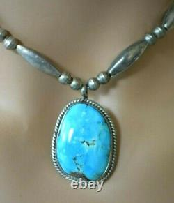 Vintage Sterling Silver Bench Beads Large Navajo 29mm Turquoise Pendant Necklace