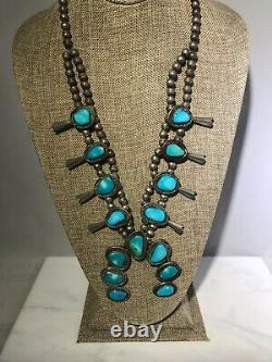 Vintage Sterling Silver LARGE Squash Blossom Turquoise Necklace 14946/ECC/OSF
