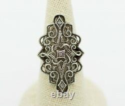 Vintage Sterling Silver Large 67Pcs Natural Diamond Cluster Cocktail Ring Size 7