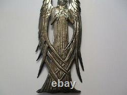 Vintage Sterling Silver Large Angel Necklace Pendant Ornament Iconic 925 3