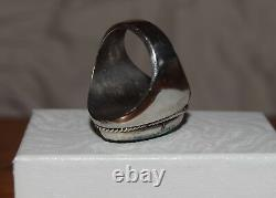 Vintage Sterling Silver Large Oval Native Turquoise Ring, 10.5, 26 grams